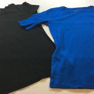 Ann Taylor 2 T-Shirts Blue Black Size Medium